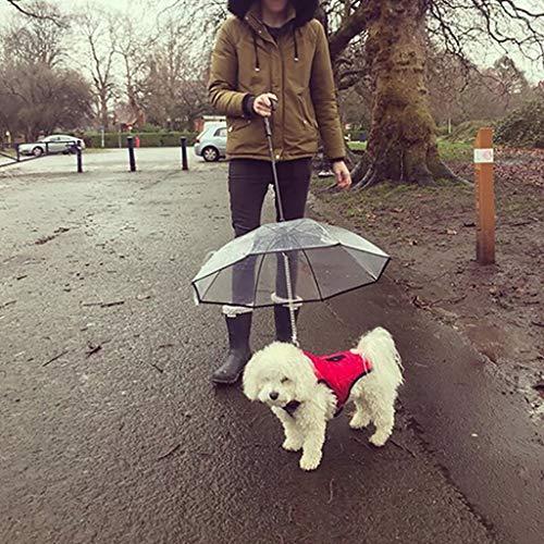 Euone  Dogs Umbrella, Transparent Pet Umbrella Portable Built-in Leash Puppy Umbrella Pet Dogs Walking Accessories for Rainy Day