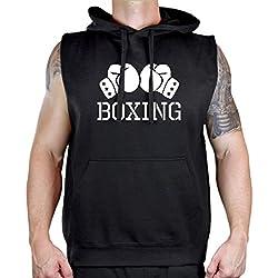 Men's Boxing Gloves V434 Sleeveless Vest Hoodie Small Black