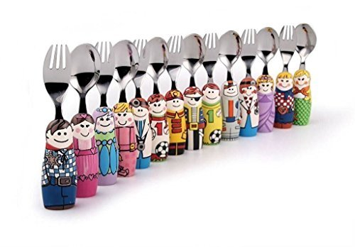 Eat4Fun Duo Collection Kids Fork & Spoon, Girl Doctor by Eat4Fun (Image #2)