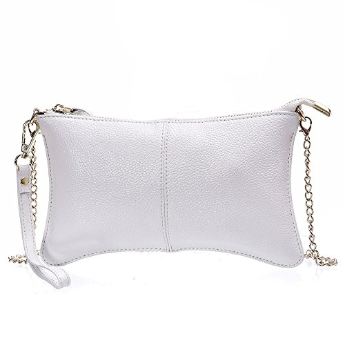 Clutch Wallet,YOUNA Small Leather Crossbody Purse for Women with Chain Shoulder&Wrist Strap White