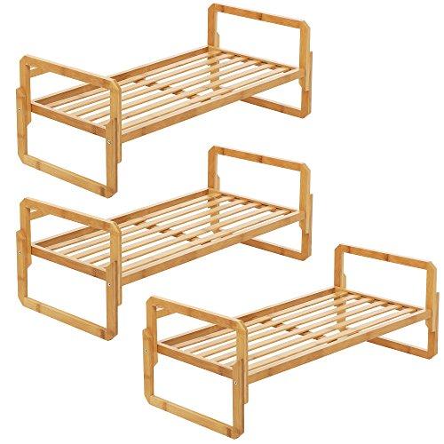 SONGMICS Stackable Wood Shoe Rack Shelf 3-Tier (3 of One Tier) Bamboo DIY Standing Shoe Shelf Storage Organizer for Entryway Closet (Flat Storage Racks)