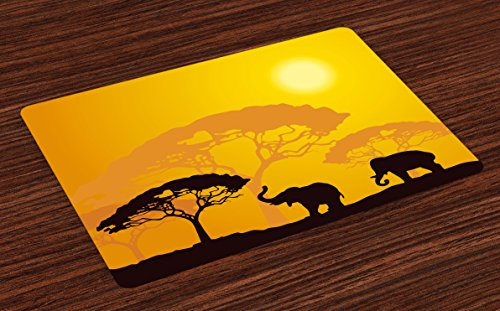 Ambesonne Safari Place Mats Set of 4, African Wildlife Animals Elephants Sun Beams Trees Print Art, Washable Fabric Placemats for Dining Room Kitchen Table Decor, Earth Yellow Marigold Dark Brown