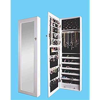 BTEXPERT Premium Wooden Jewelry Armoire Cabinet Wall mount Over the Door Hanger Locking Organizer Storage box case Cheval Mirror Store Rings, Necklaces, Key Lock for Added Safety, Security- White