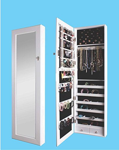 (BTEXPERT Premium Wooden Jewelry Armoire Cabinet Wall mount Over the Door Hanger Locking Organizer Storage box case Cheval Mirror Store Rings, Necklaces, Key Lock for Added Safety, Security- White)