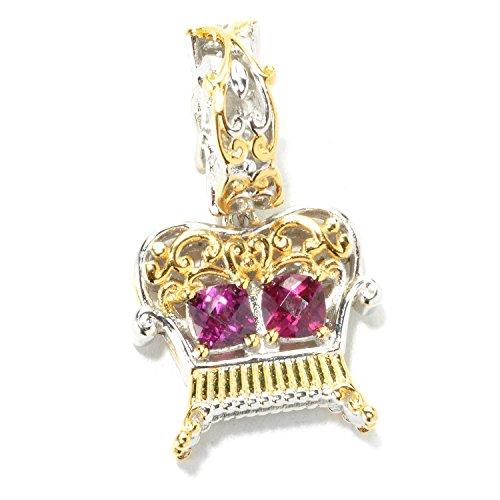 Michael Valitutti Palladium Silver Checkerboard Cut Rhodolite Garnet Love Seat Drop Charm (Charm Rhodolite Garnet)