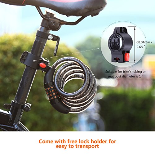 TACKLIFE Bike Lock, HCL1C 4-Feet Resettable Combination Bike Cable Self Coiling Bicycle Cable Locks with Complimentary Mounting Bracket, 4 Feet x 1/2 Inch by TACKLIFE (Image #4)