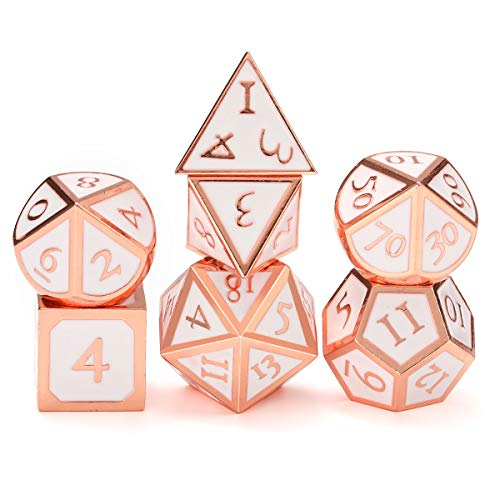 UONUOT 7pcs DND Metal Dice Set with Black Pouches D&D Tabletop Games Embossed Heavy Polyhedral Metal Dice for Dungeons and Dragons Role Playing Games RPGs/DND/Set,Math Teaching(Copper/Rosegold White)