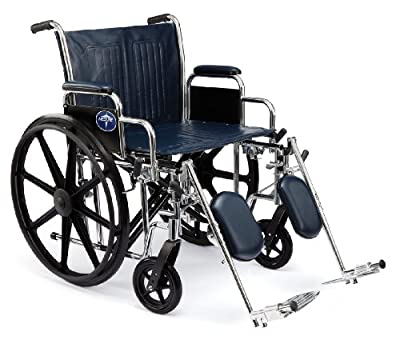 "Medline Excel Extra-Wide Wheelchair, 24"" Wide Seat, Desk-Length Removable Arms, Elevating Legrests, Chrome Frame"