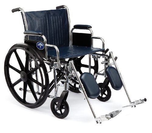 """Medline Excel Extra-Wide Wheelchair, 20"""" Wide Seat, Full-Length Arms, Swing Away Footrests, Chrome Frame"""