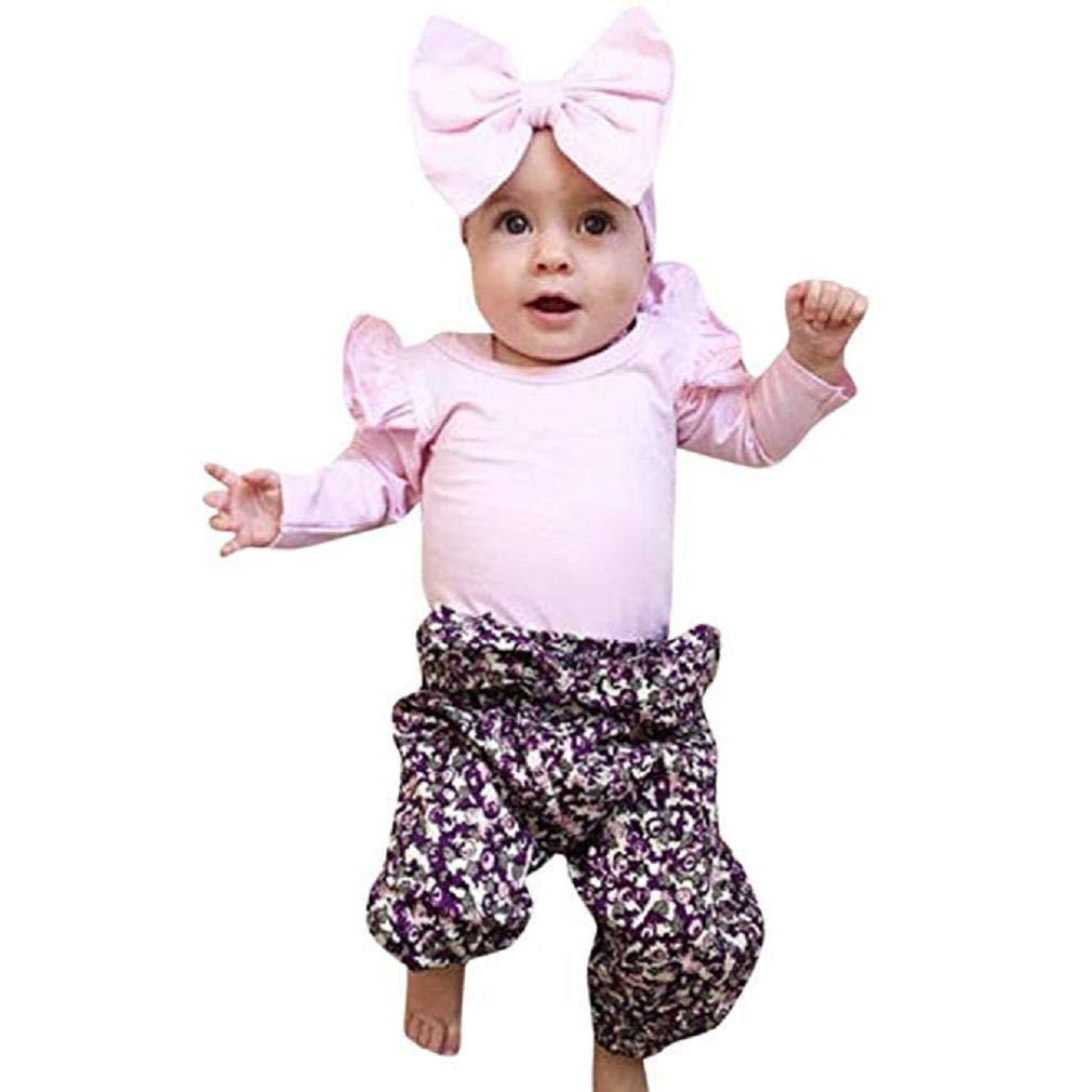 Noopvan New! Newborn Baby Boy Girl O-Collar Tops Headband Floral Pants Outfits Set Clothes 4551