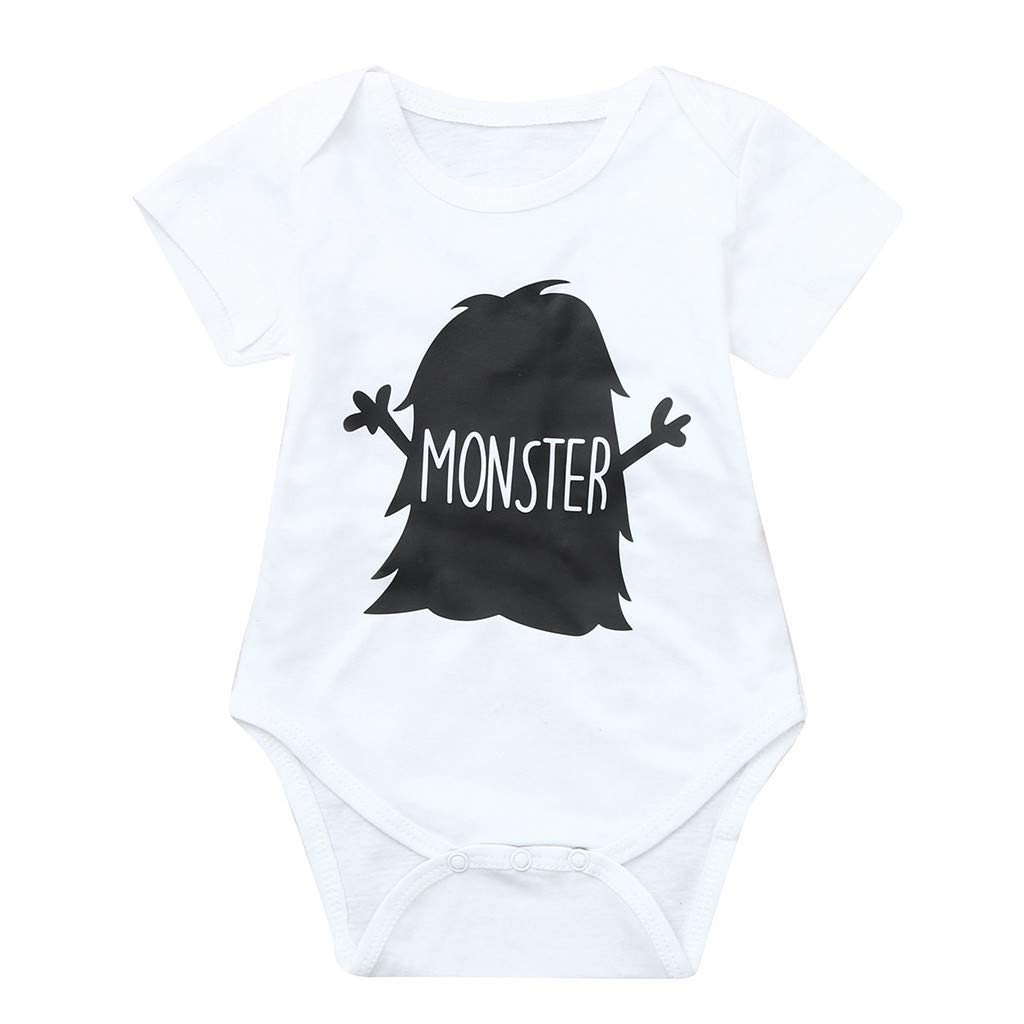NUWFOR Toddler Baby Short Sleeve Letter Print Romper Tops Matching Family Clothes(White,0-3 Months