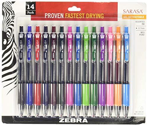(Zebra Sarasa Retractable Gel Ink Pens, Medium Point 0.7mm, Assorted Color Rapid Dry Ink, 14-Count)