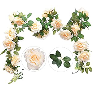 Felice Arts 2PCS(13.8FT) Artificial Rose Vine Silk Flower Garland Hanging Fake Roses Flowers Plants for Hotel Office Wedding Home Party Garden Craft Art Decor,Champagne 9