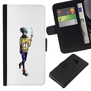 YiPhone /// Tirón de la caja Cartera de cuero con ranuras para tarjetas - Mago de la muchacha - HTC One M9