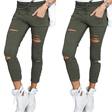 40da0c0f8 SexsWing Skinny Jeans Women Denim Pants Holes Destroyed Knee Pencil Pants  Casual Trousers Black White Stretch