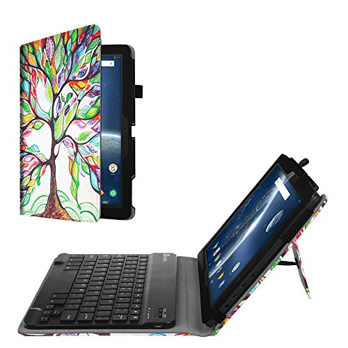 Fintie Premium PU Leather Folio Keyboard Case Cover with Removable Wireless Bluetooth Keyboard for Dragon Touch 10.1 inch X10 2017 Edition, Fusion5 104+, IVIEW-1070TPC-II 10.1-Inch Tablet, Love Tree by Fintie