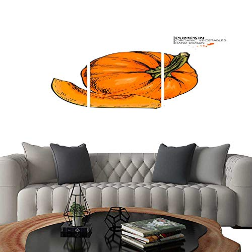 Canvas Print Wall Art Vector Hand Drawn Set of Farm Vegetables Isolated Pumpkin Engraved Colored Art Organic Sketched Vegetarian Objects Use for Restaurant menu Grocery Market Store Party Halloween]()