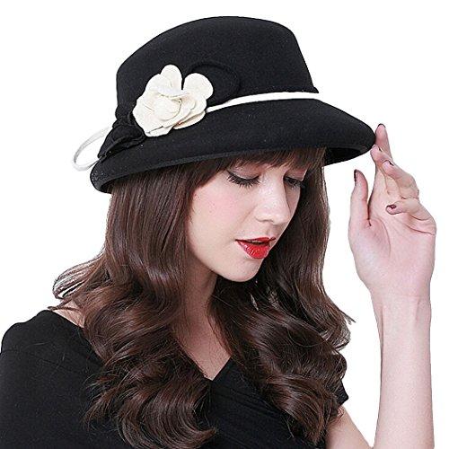 Fascigirl Cloche Hat Wool Bucket Winter Hat Party Church Top Hat for Women (Top Hats Fancy Dress)