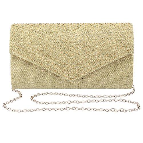 Gold Mesh Clutch - Gabrine Womens Evening Bag Handbag Clutch Purse Glitter Rhinestone-Studded Flap Mesh Fabric for Wedding Party Prom(Gold)