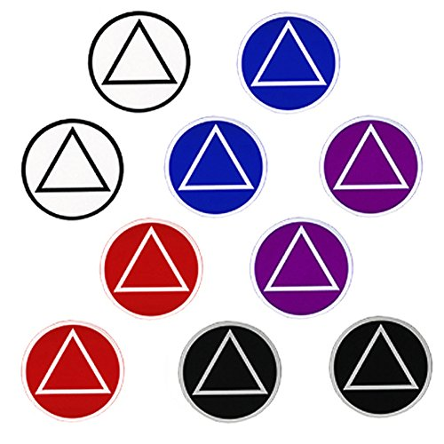 Alcoholics Anonymous AA Recovery Symbol Small Round Stickers, Set of 10, (5) Assorted Colors (Stickers Symbol Round)