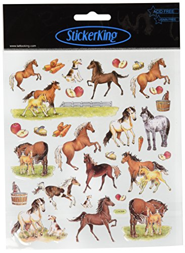 Tattoo King Multi-Colored Stickers-Horses On Farm