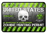(2 Pack) The Ultimate Zombie Hunting Permit Decal, Sticker, Walking Dead Gift Prop (Green)