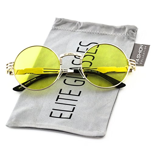 Elite John Lennon Round Sunglasses Steampunk Metal Spring Frame Groovy Lens Color (Yellow, - Oversized Lennon Sunglasses John