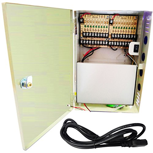 (VENTECH CCTV 18 Channel Output 12V DC 20A Auto Reset Fuse CCTV Distributed Power Supply Box for Security Camera offer)