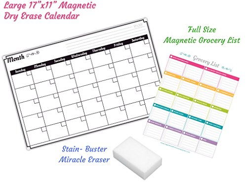 Large Refrigerator Supplier Mail: Dry Erase Monthly Calendar Set / Large Magnetic White