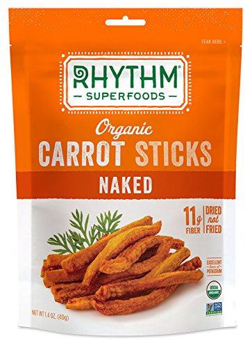 Rhythm Superfoods Carrot Sticks, Naked, Organic and Non-GMO, 1.4 Oz (Pack of 4), Vegan/Gluten-Free Superfood Snacks -