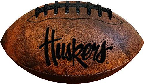 NCAA Nebraska Cornhuskers Vintage Throwback Football, 9-Inches - Nebraska Cornhuskers Brown Football
