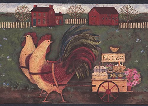 Rooster Carriage Eggs Village Wallpaper Border Retro Design, Roll 15' x 8'' ()