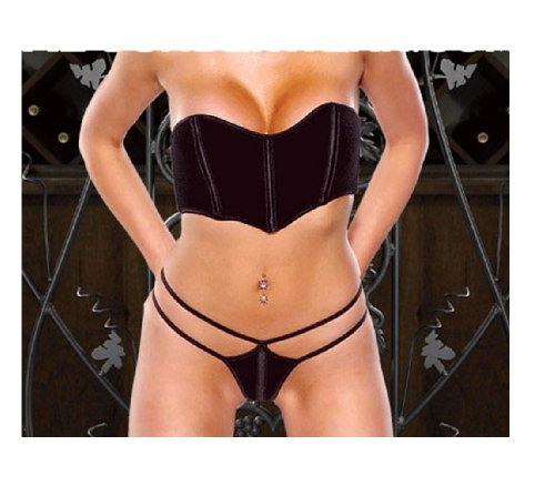 Stretch Velvet Bustier (Seductive Stretch Velvet Bustier and Matching Thong Large-Black)