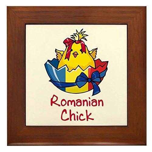 CafePress - Romanian Chick Framed Tile - Framed Tile, Decorative Tile Wall - Chicks Framed