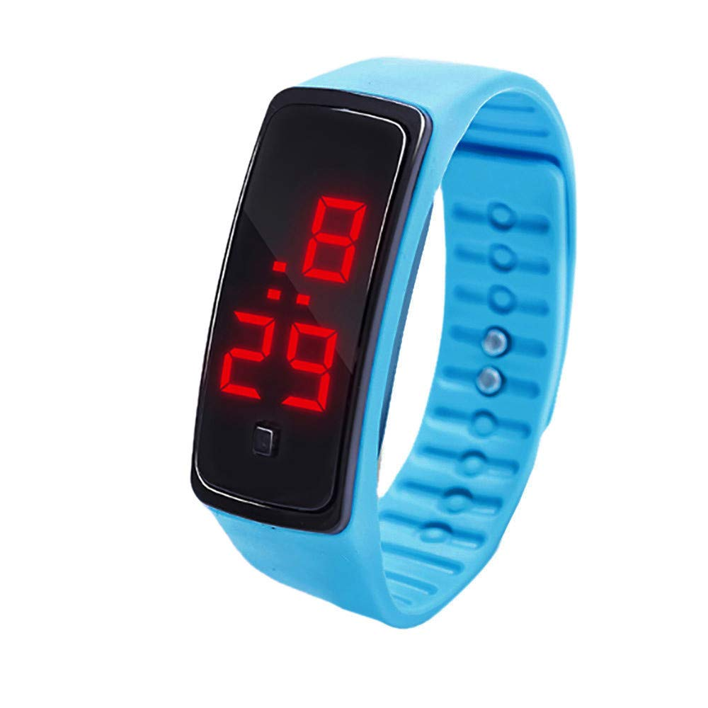 NRUTUP LED Digital Display Bracelet Watch Children's Students Silica Gel Sports Watch Hot Sales(Sky Blue,Free Size)
