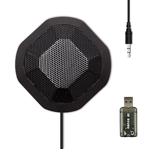 Conference Microphone Omnidirectional Computer Microphone with USB External Stereo Sound Adapter for Recording,Gaming,Skype,Chatting