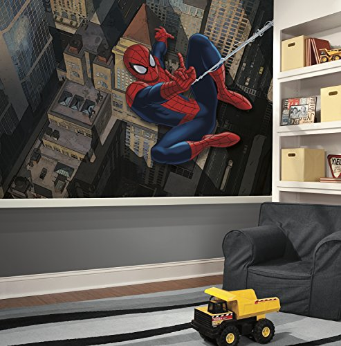 RoomMates JL1405M Ultimate Spiderman Xl Chair Rail Prepasted Mural 6' x 10.5' - Ultra-Strippable