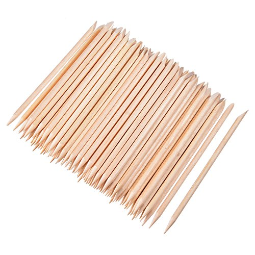 Hicarer 100 Pieces Orange Wood Sticks Nail Art Cuticle Stick for Pusher Remover Manicure Pedicure, 4.3 Inches ()