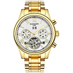 Topwatch® Sangdo Men's Tourbillon Automatic Mechanical white Dial Gold Stainless Steel Watch