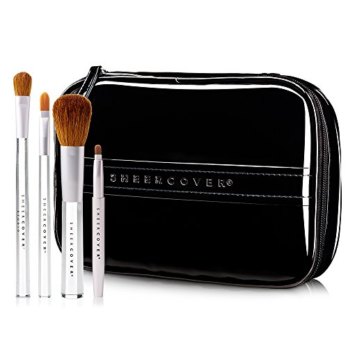 - Sheer Cover Studio - Ultimate Brush Kit - Foundation Brush - Lip Brush - Concealer Brush - Contour Brush - with FREE Case - 5 Pieces