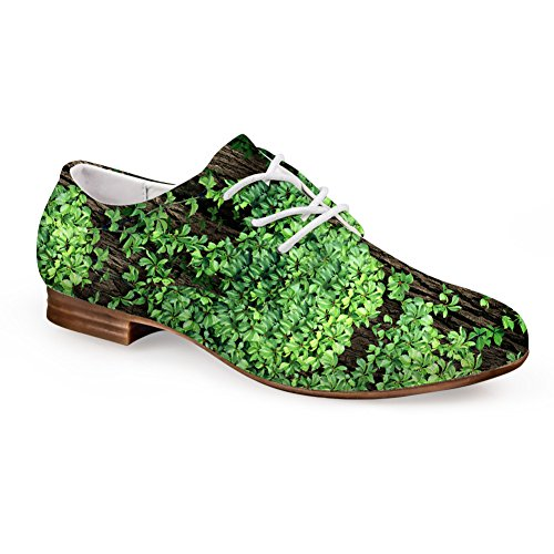 Lace-up Flat Leather Casual Oxford Flats Fashion Green Print Shoes green 4 F1ForpD