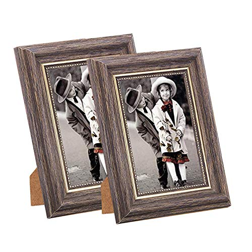 Photo Frame 4x6 Vintage Portrait Picture Frames Retro Landscape & Horizontal Poster Frame Standing or Wall Mountable, Birthday Gift for Parents Woman Wedding Anniversary 6x4 Inch Coffee