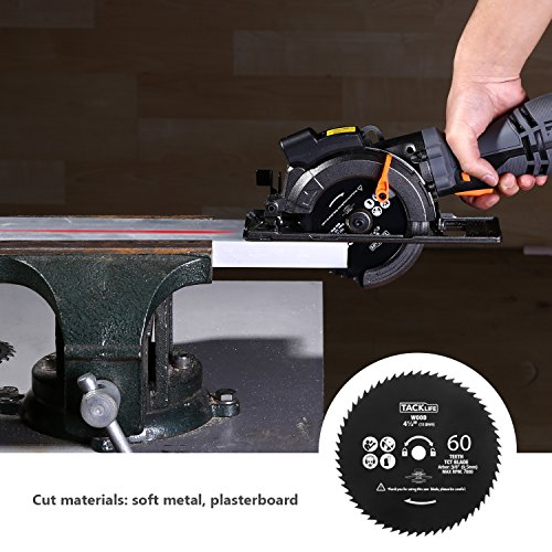"TACKLIFE Circular Saw with Metal Handle, 6 Blades(4-3/4″ & 4-1/2""), Laser Guide, 5.8A, Max Cutting Depth 1-11/16"" (90°), 1-3/8"" (45°), Ideal for Wood, Soft Metal, Tile and Plastic Cuts – TCS115A"