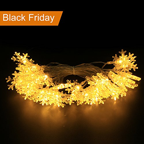 Battery Operated Led String Lights, Ejoyous 6m/19ft 40 Snowflake Shape LED Lights Fairy Decorative Light Lightning for Wedding Party Home Bar Garden Bedroom Outdoor Indoor Kids Play Tents (Warm White)