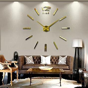 Komo Gold große Wanduhr Wohnzimmer moderne Kunst DIY personalisierte ...
