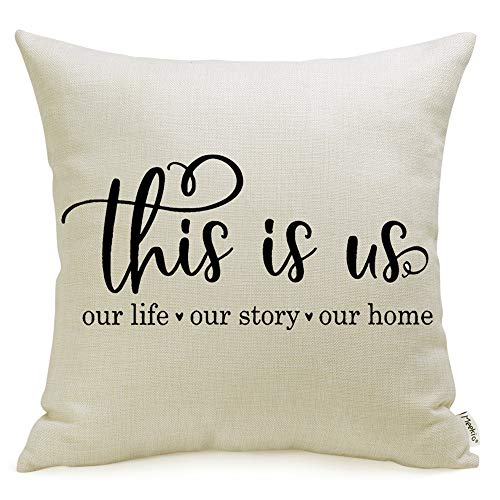 Meekio Farmhouse Pillow Covers with This is Us Quote 18 x 18 Inch for Farmhouse Decor Housewarming Gifts for New Home ()
