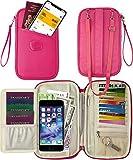 Travel Wallet & Family Passport Holder RFID Blocking- Document Organizer Case(hot pink)