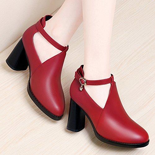 Son Primavera Coreana El Y Coinciden Otoño Con Mujer Zapatos Tacon Para Claret Gruesos Una Todos Señoras Alto la Khskx De Redondos 5nqHxxXw