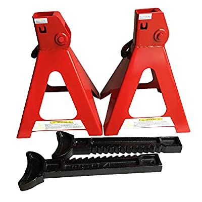 """Big Red Double Locking Steel SUV Jack Stands 6 Ton Capacity, 11-2/5""""-16-9/10"""" Lift Range ,1 Pair"""