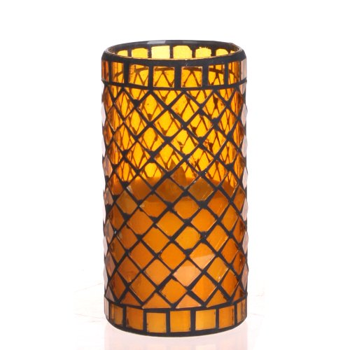 Diamond Shaped Mosaic Glass with Flameless LED Candle with Timer